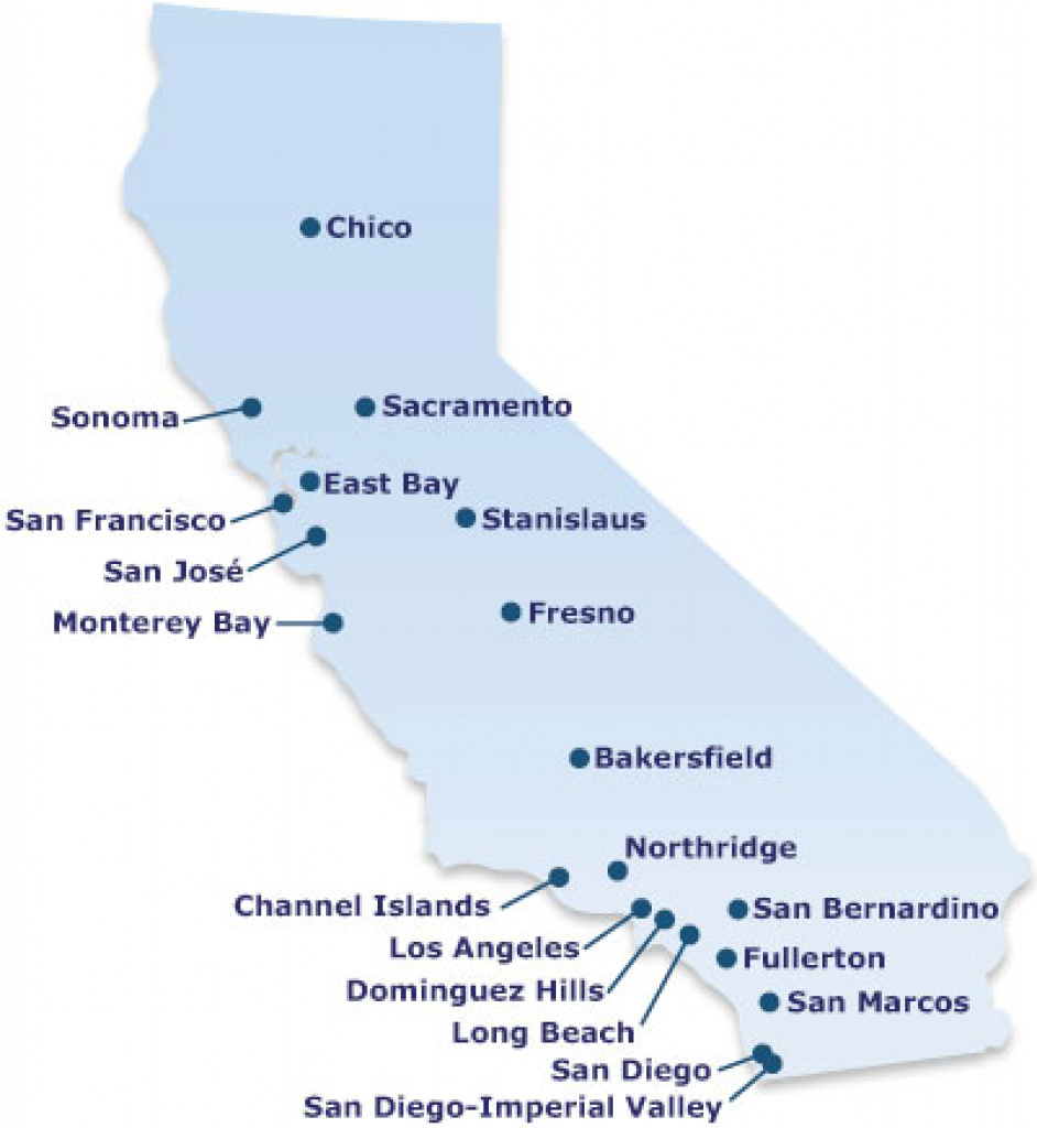 Rn Bsn Map Image Gallery For Website California State University with regard to California State University Map
