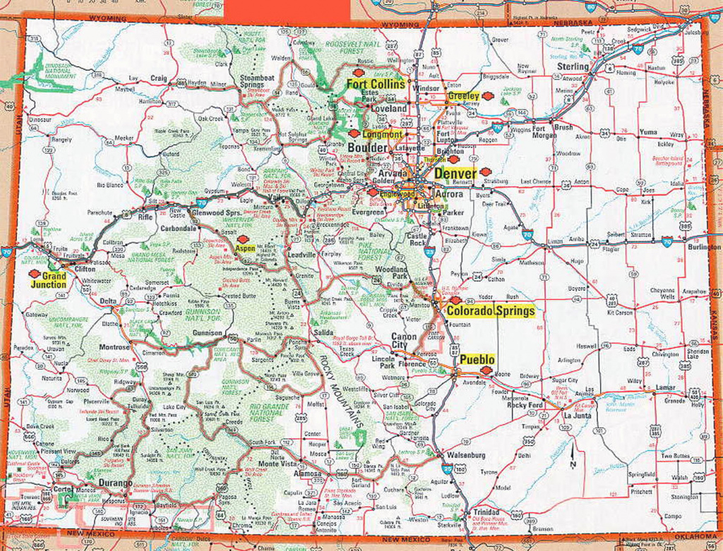 Road And Highways Map Of Colorado State. Colorado State Road And inside Picture Of Colorado State Map