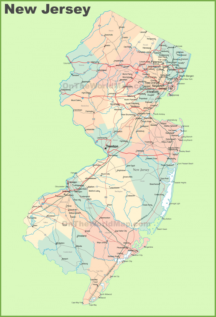 Road Map Of New Jersey With Cities regarding Map Of New Jersey And Surrounding States