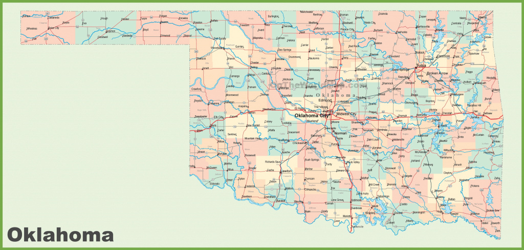 Road Map Of Oklahoma With Cities for State Map With Cities