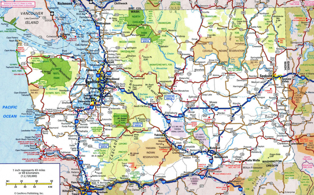 Road Maps Of Oregon State And Travel Information | Download Free for Washington State Road Map Printable