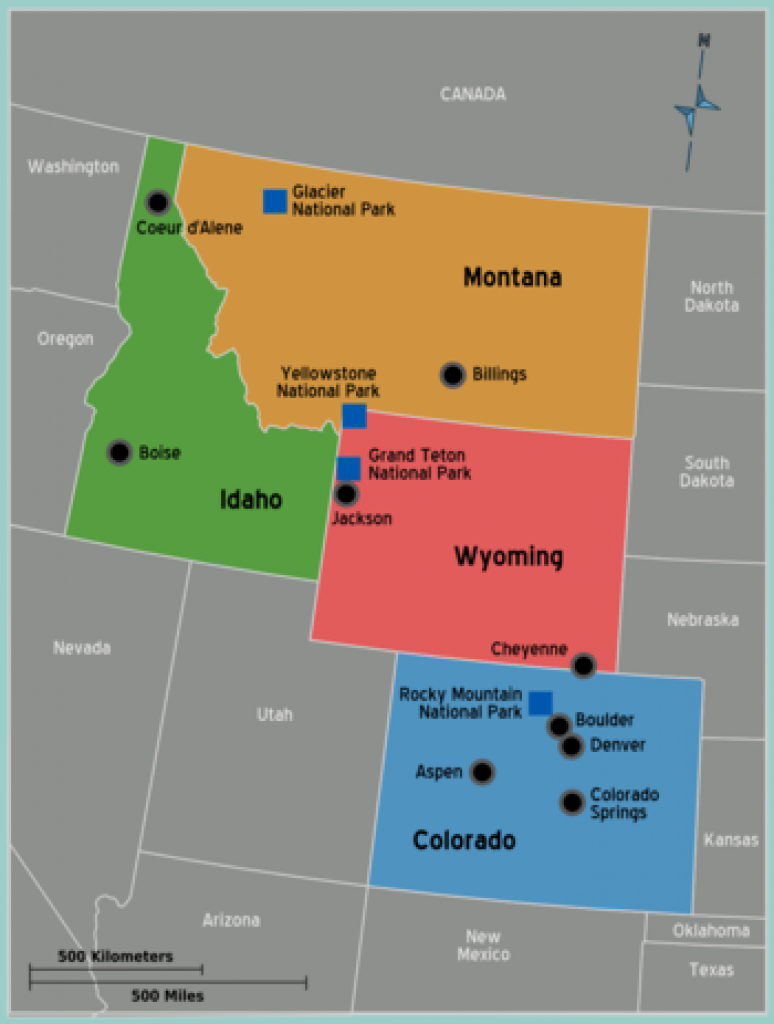 Rocky Mountains (United States Of America) - Wikitravel inside Us Map Rocky Mountain States