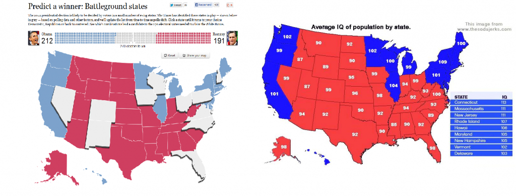 Romney Support Vs. Average Iq In Us -State : Atheism inside Iq By State Map