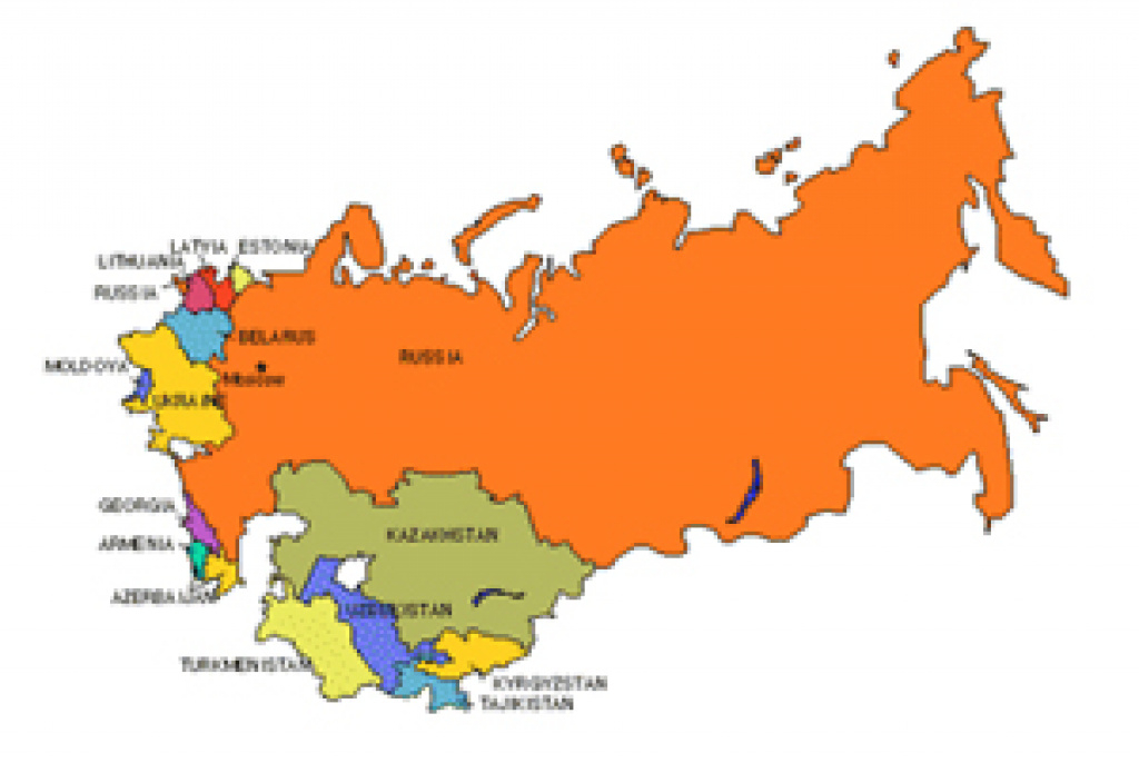 Russia Powerpoint Map, With Surrounding Countries - Maps For Design regarding Russia And Commonwealth Of Independent States Map