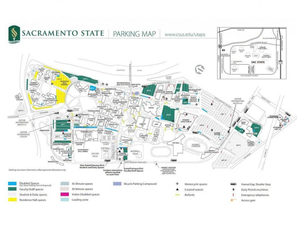 Sac Campus Map - Sacramento State Campus Map (California - Usa) throughout Sac State Campus Map