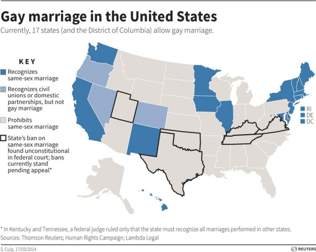 Same-Sex Marriage Laws [Map] - Business Insider regarding Map Of Gay Marriage States 2014