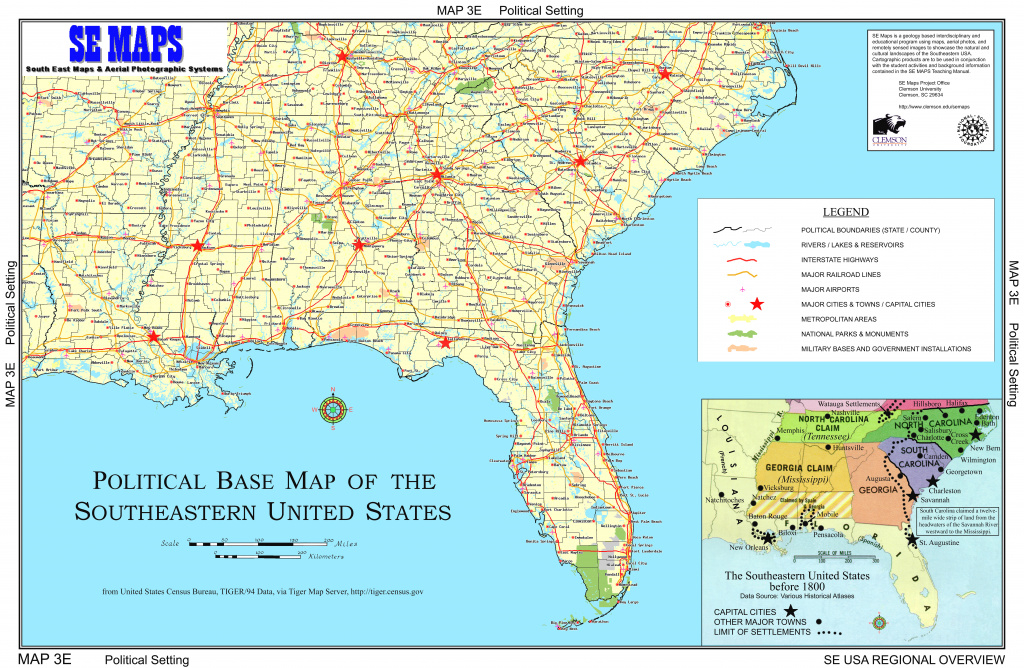 Se Maps Regional Maps Home pertaining to Physical Map Of The Southeast United States