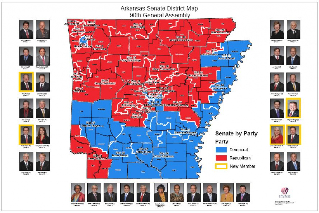 Senate District Maps (91St General Assembly: 2017) | Arkansas Gis Office within Arkansas State Senate Map