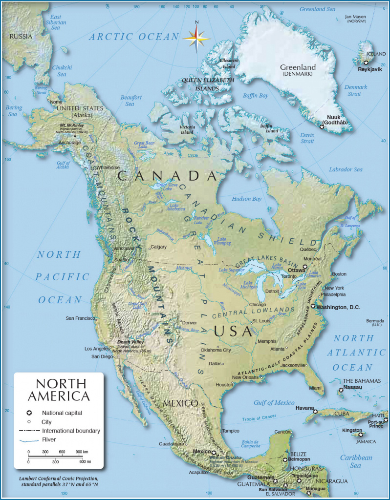 Shaded Relief Map Of North America (1200 Px) - Nations Online Project with regard to United States And Canada Physical Map