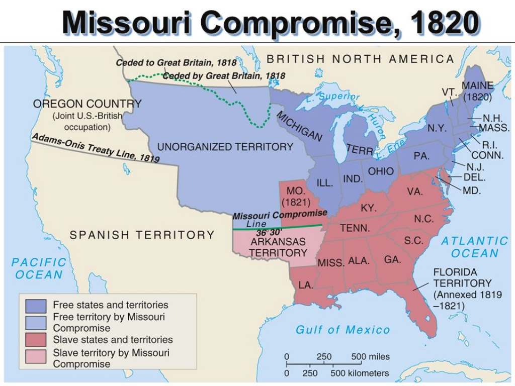 Slave States Vs. Free States In 1819, The Us Had 22 States: 11 Were with Slave States And Free States Map