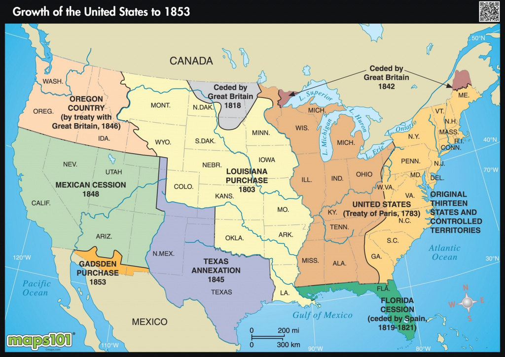 Small 1853 Us Growth Wall Map - Maps inside Growth Of The United States To 1853 Map