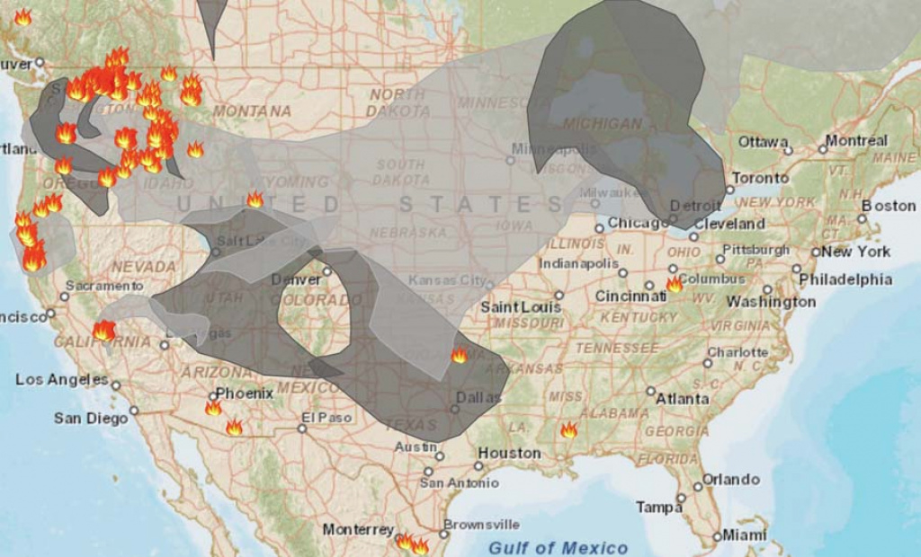 Smoke From Wildfires In Northwest Affects Western States - Wildfire throughout Washington State Fire Map