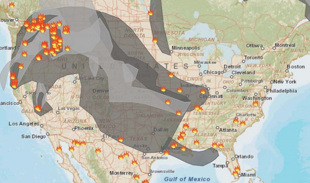 Smoke Map And Red Flag Warnings, August 24, 2015 - Wildfire Today with regard to Smoke Map Washington State