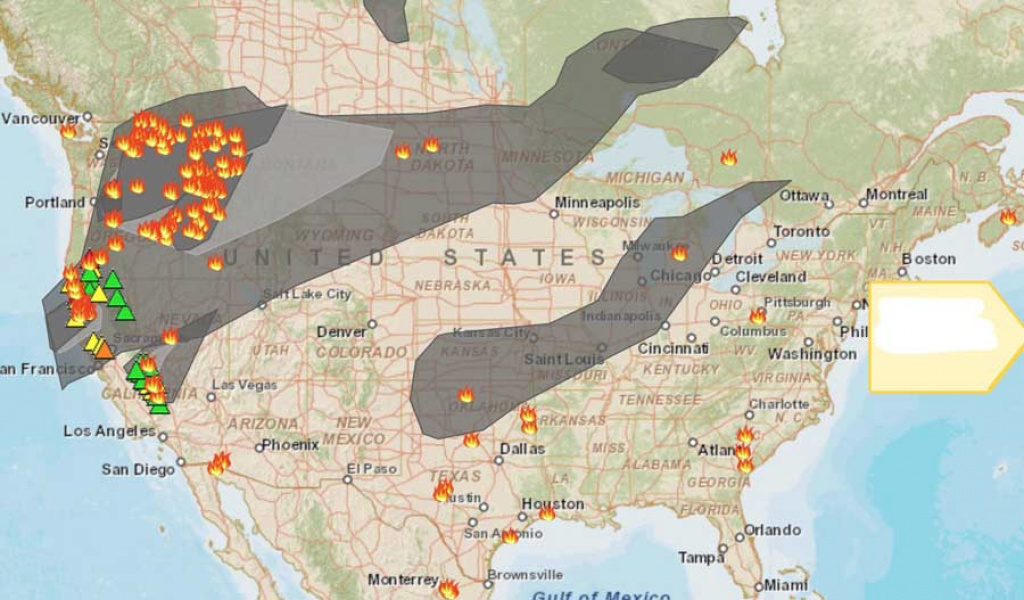 Smoke Spreads East From Wildfires In The Northwest - Wildfire Today with Map Of The Washington State Fires