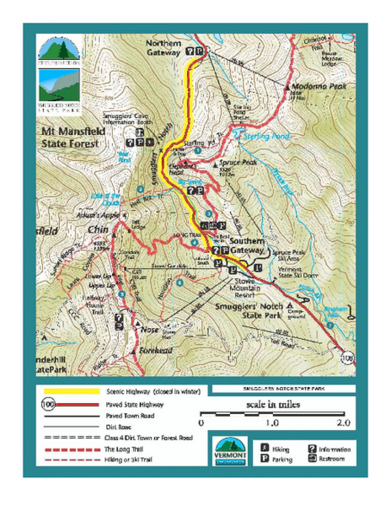 Smugglers Notch Trail Map - 6443 Mountain Road Stowe Vermont 05672 in Underhill State Park Trail Map