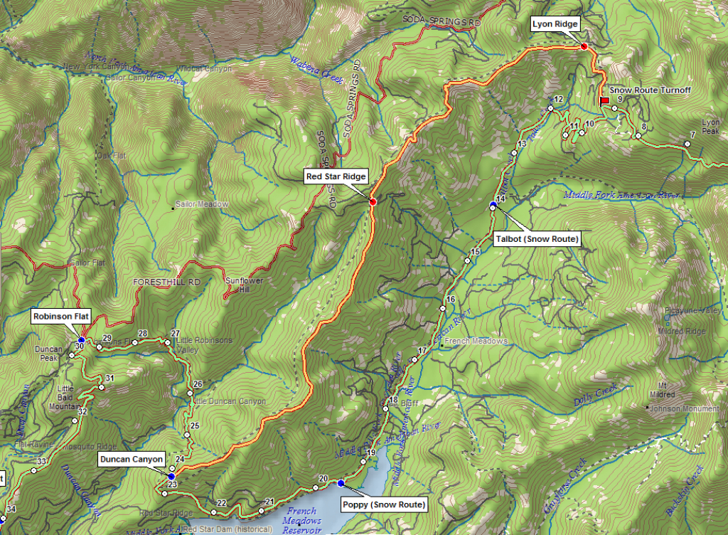 Snow Routes – Western States Endurance Run throughout Western States 100 Course Map