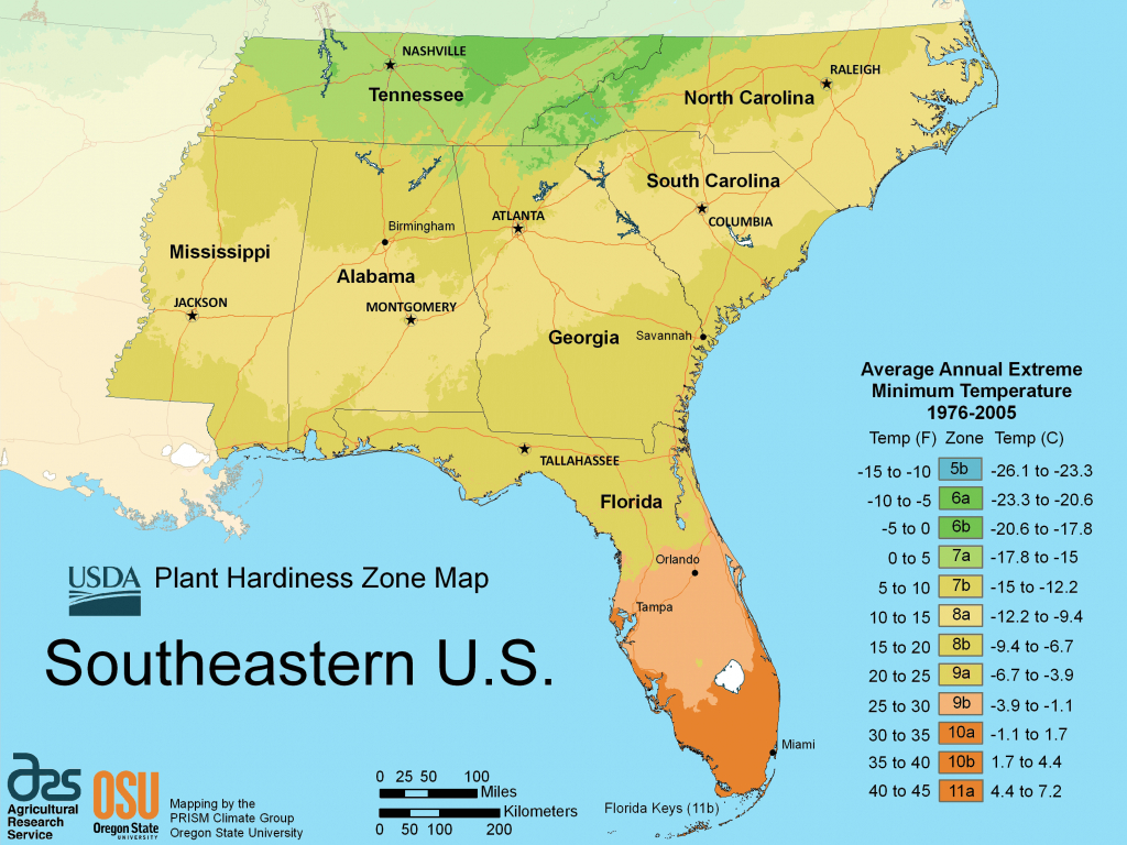 South East Us Plant Hardiness Zone Map • Mapsof with Physical Map Of The Southeast United States