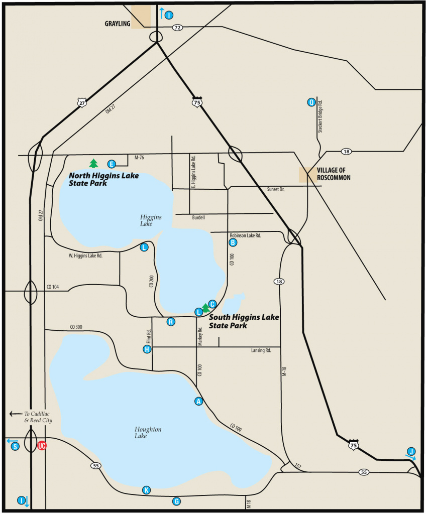 South Higgins State Parkmaps & Area Guide - Shoreline Visitors Guide throughout South Higgins Lake State Park Map