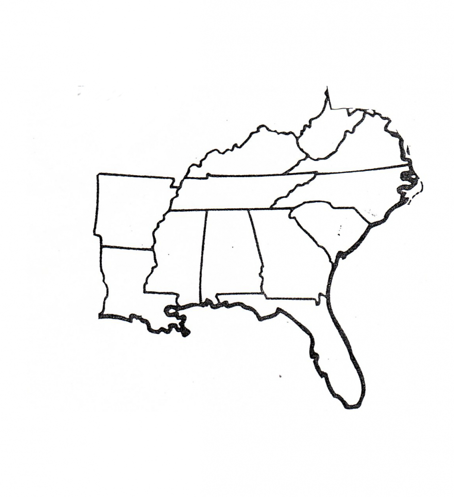 Southeast Coloring Pages regarding Blank Map Of Southeast United States