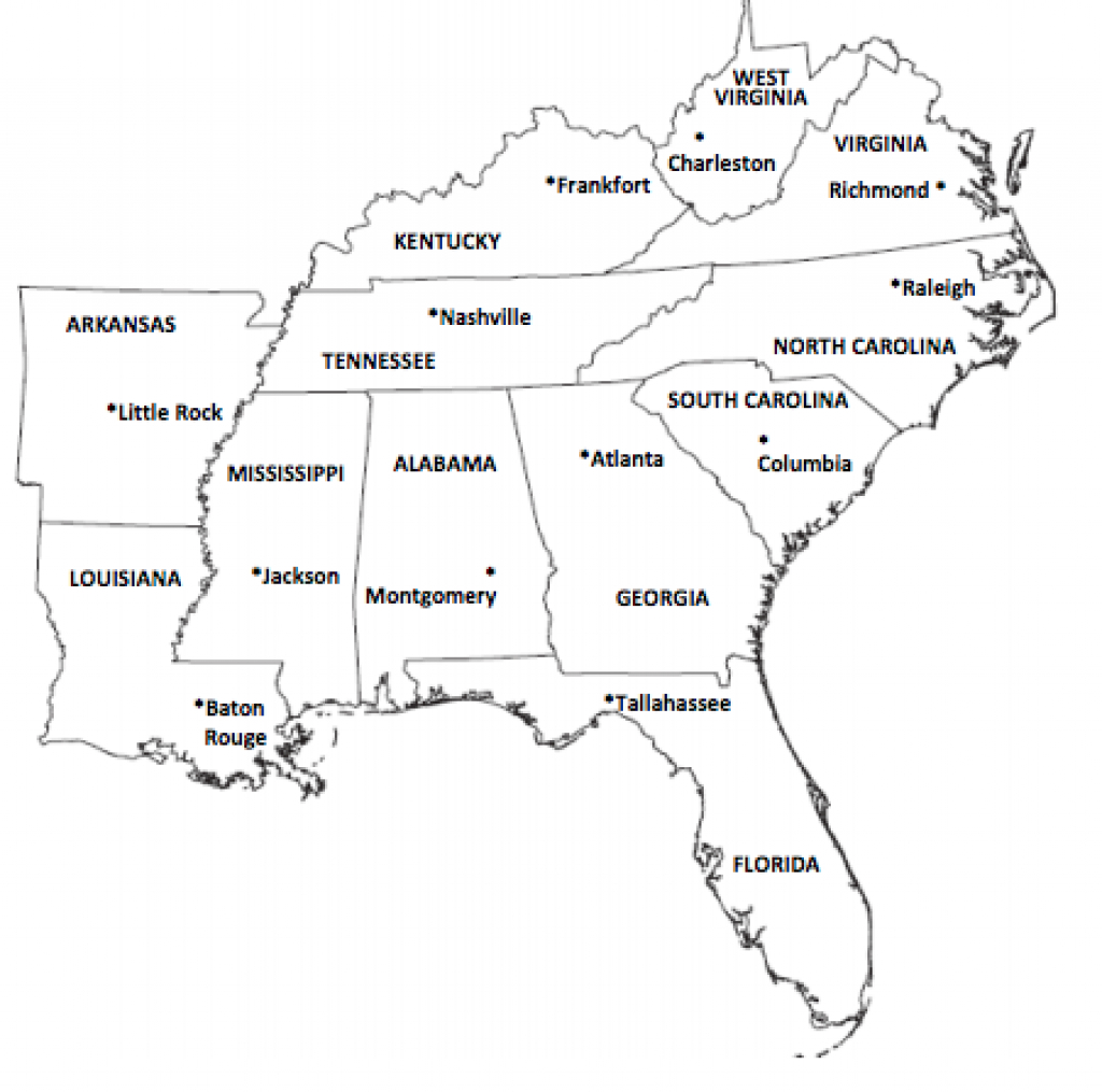 Southeast Region inside Southeast Map With Capitals And States