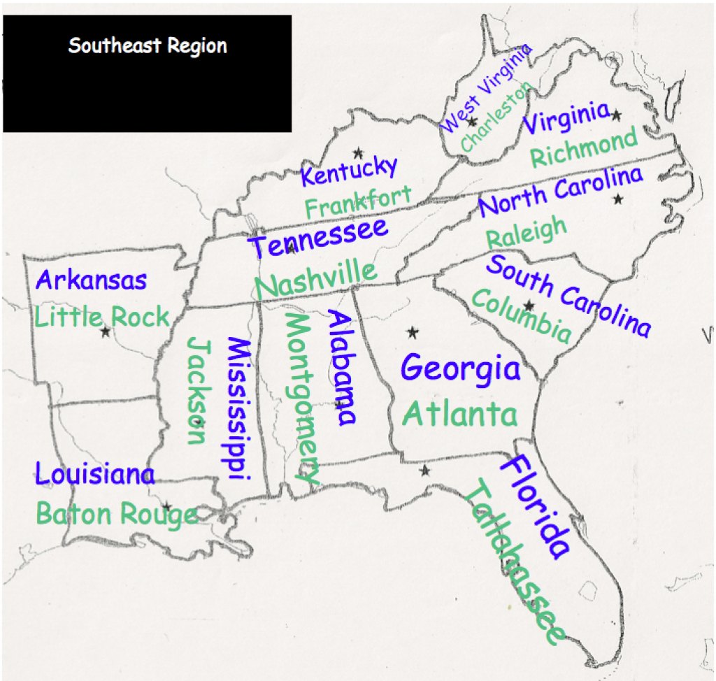 Southeast Region - Mrs. Oechsle's Fourth Grade regarding Southeast Region Map With States And Capitals