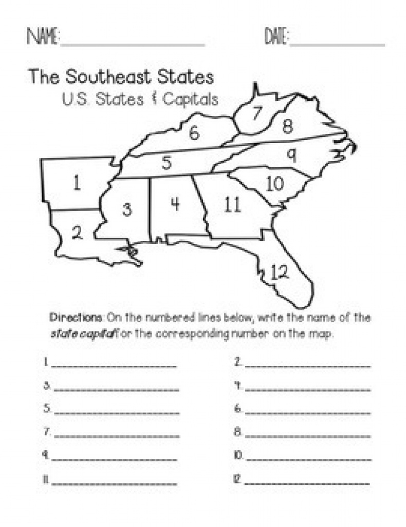 Southeast Region States And Capitals Quiz Packfaith And Fourth within Southeast Region Map With States And Capitals