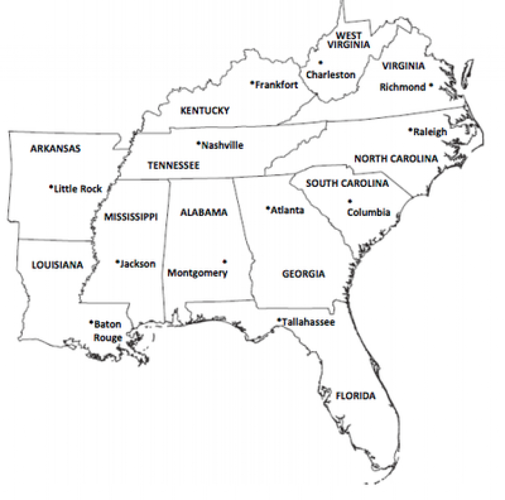 Southeast Region with regard to Southeast Region Map With States And Capitals