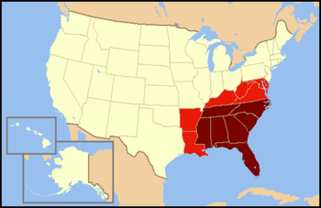 Southeastern United States - Wikipedia with Map Of The Southeast Region Of The United States