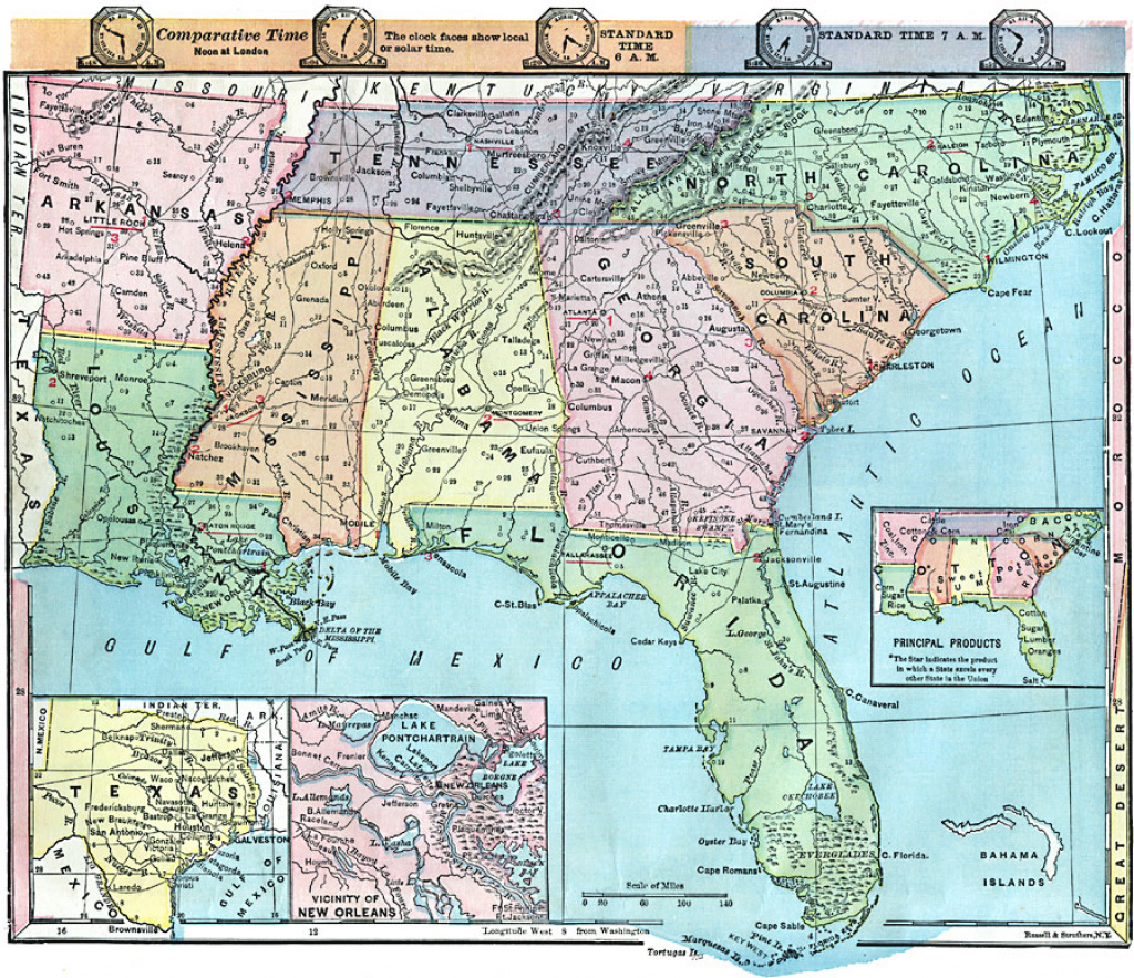 Southern And Southwestern States intended for Physical Map Of The Southeast United States