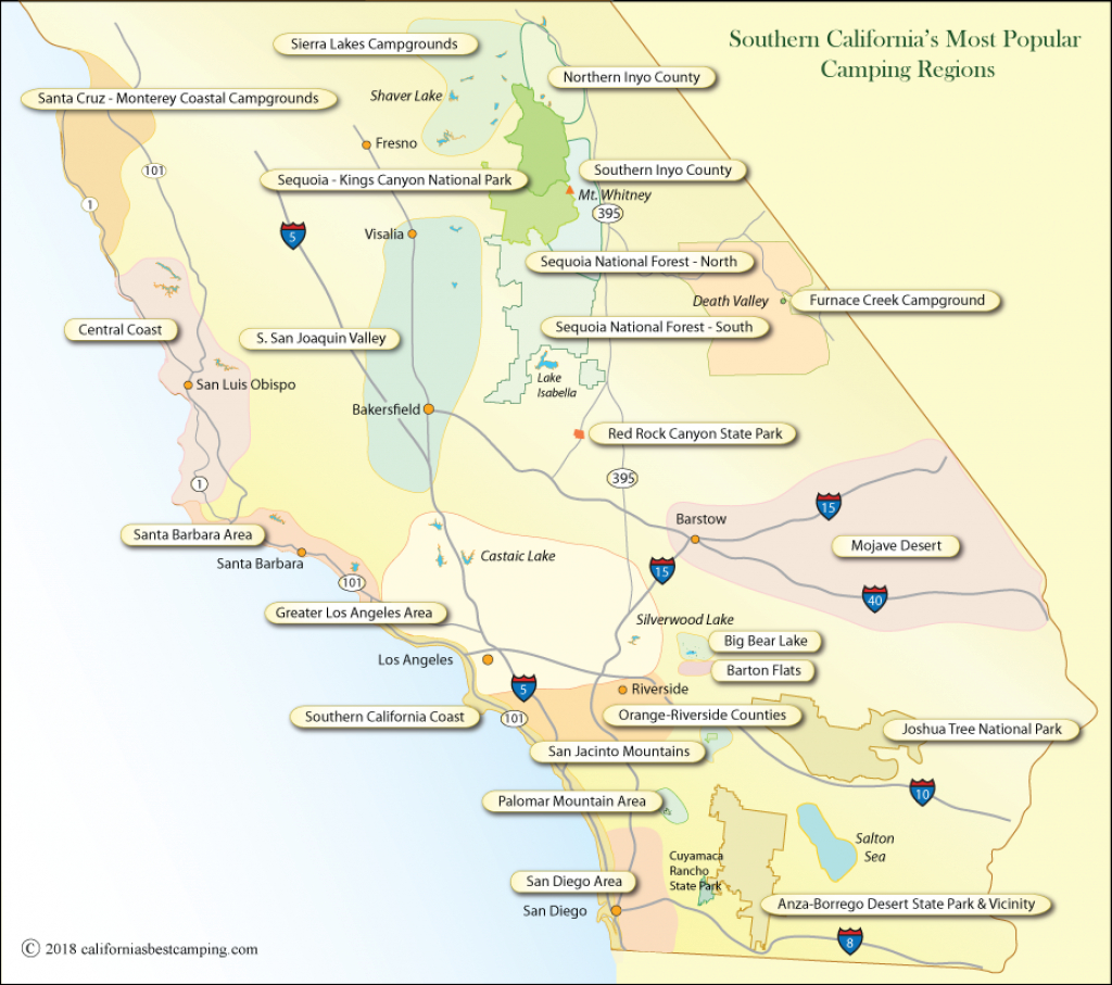 Southern California Campgrounds Map - California's Best Camping intended for Carpinteria State Beach Campground Map