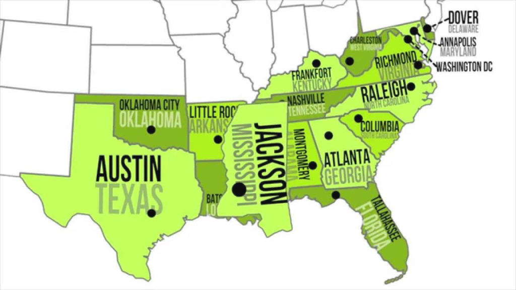 Southern Capitals & States - Youtube inside Southeast Region Map With States And Capitals