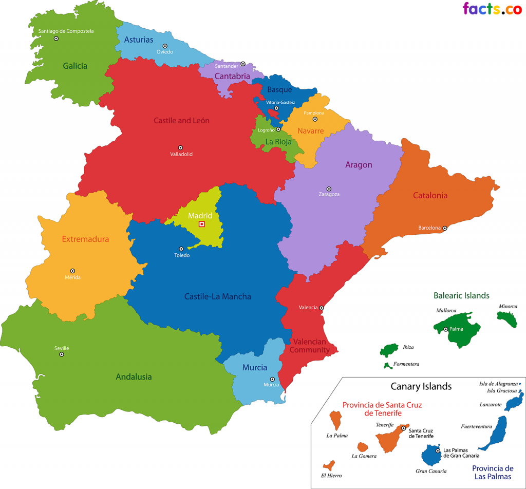 Spain Map - Blank Political Spain Map With Cities | Span 4-Historia throughout Spain States Map