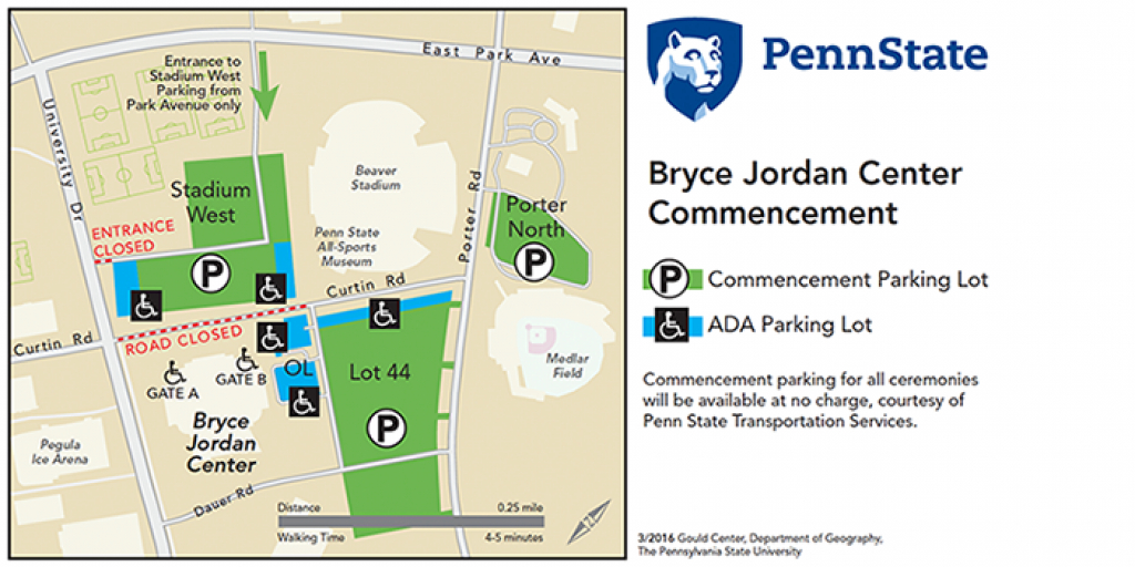 Spring Commencement | Bryce Jordan Center throughout Penn State Stadium Parking Map