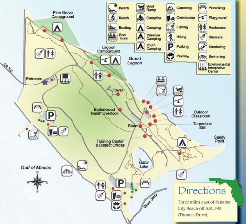 St Andrews State Park Map - Panama City Florida • Mappery within Florida State Parks Camping Map
