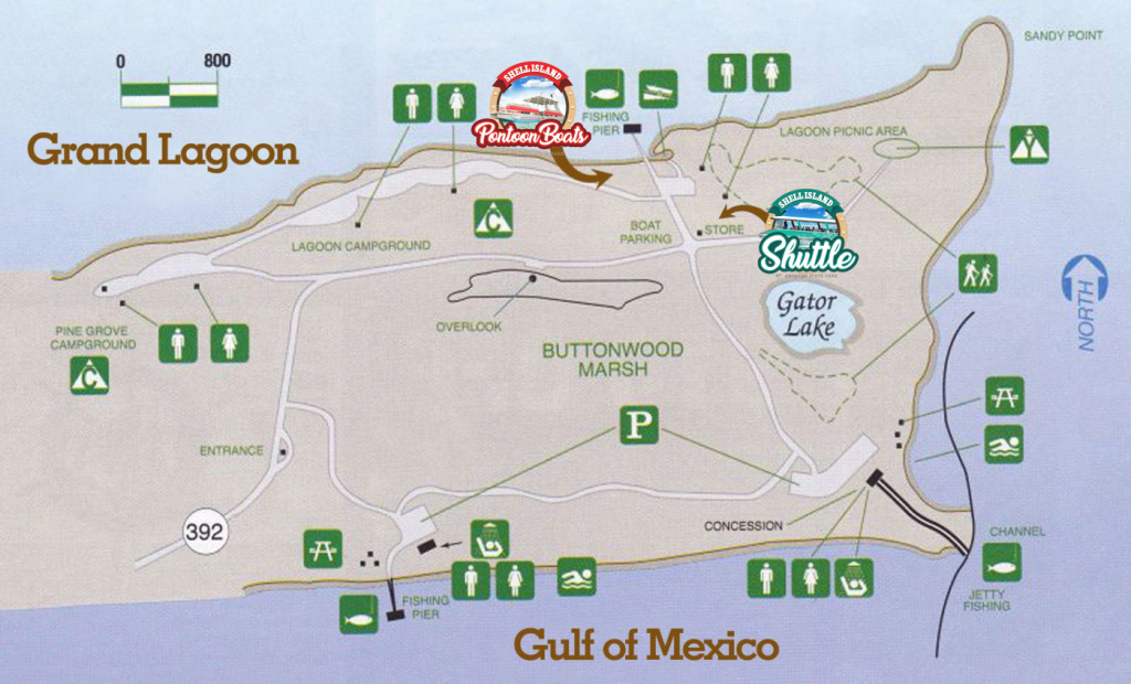 St. Andrews State Park Panama City Beach Mapshell Island Shuttle in Florida State Parks Camping Map