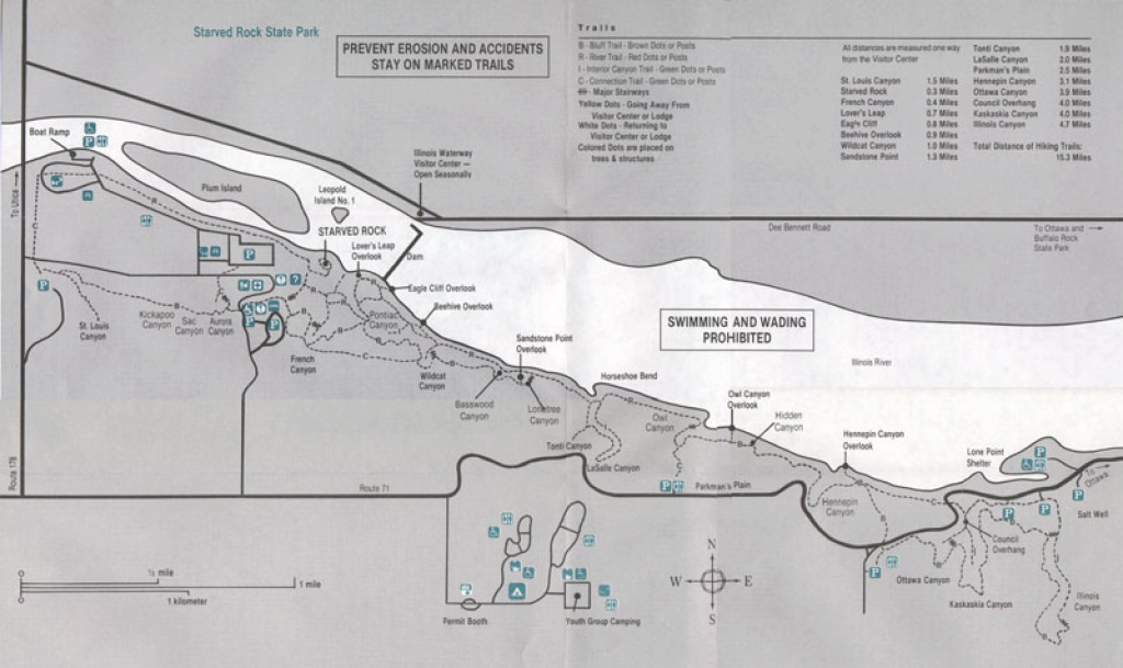 Starved Rock Park - Hiking Trail Map within Starved Rock State Park Trail Map