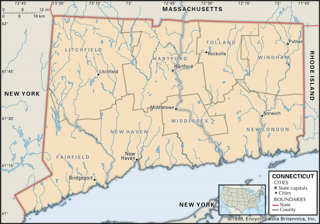 State And County Maps Of Connecticut within Connecticut State Map With Counties And Cities