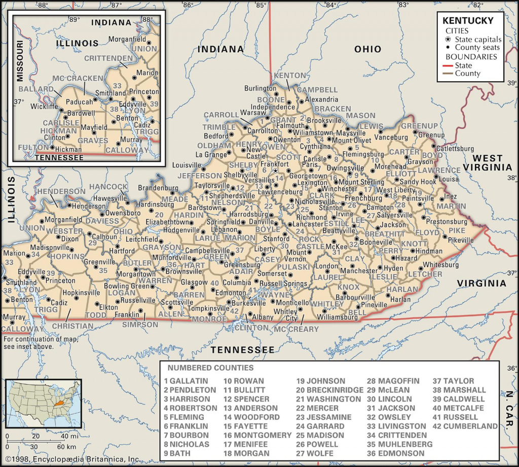 State And County Maps Of Kentucky for Kentucky State Map With Counties