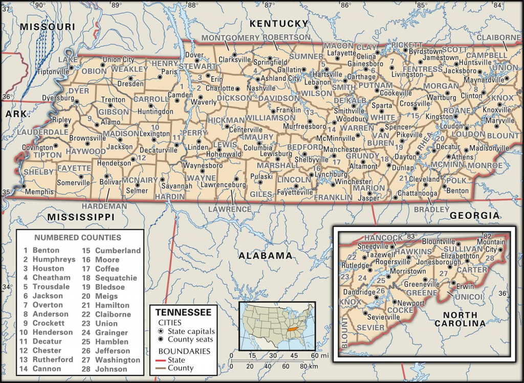 State And County Maps Of Tennessee regarding Tennessee Alabama State Line Map