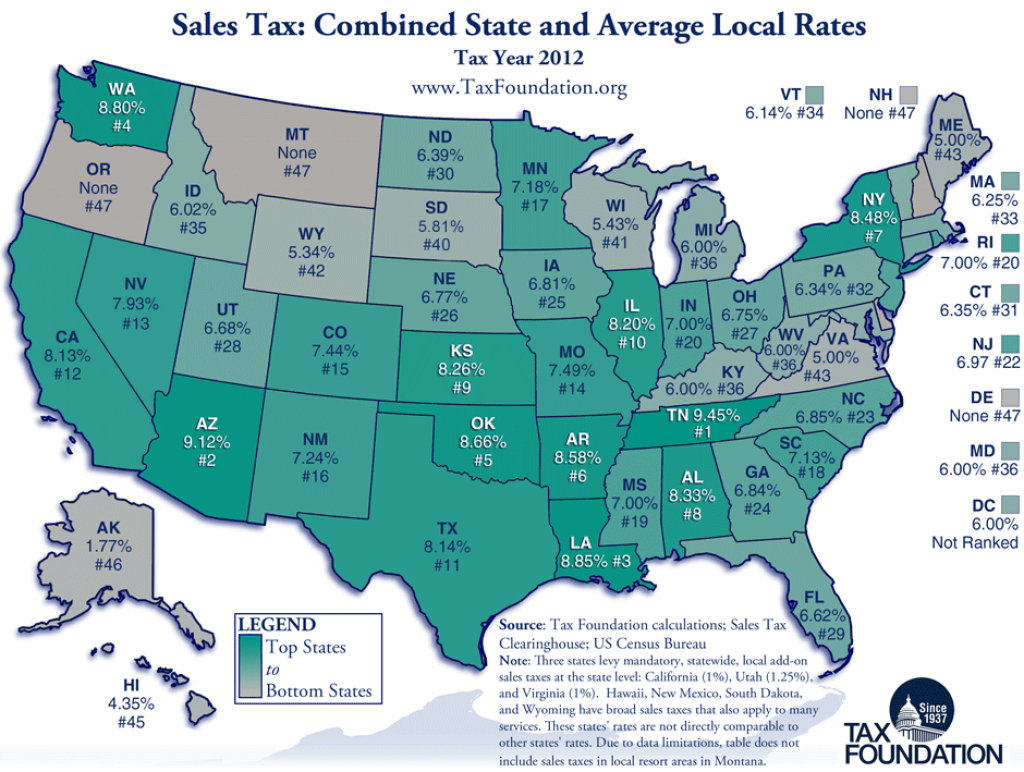 State And Local Sales Taxes In 2012 - Tax Foundation in Us State Tax Map