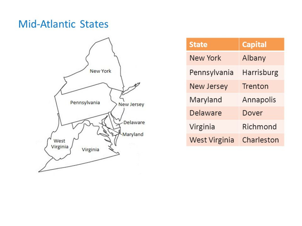 State Capitals Middle School Social Studies. - Ppt Video Online Download in Mid Atlantic States And Capitals Map