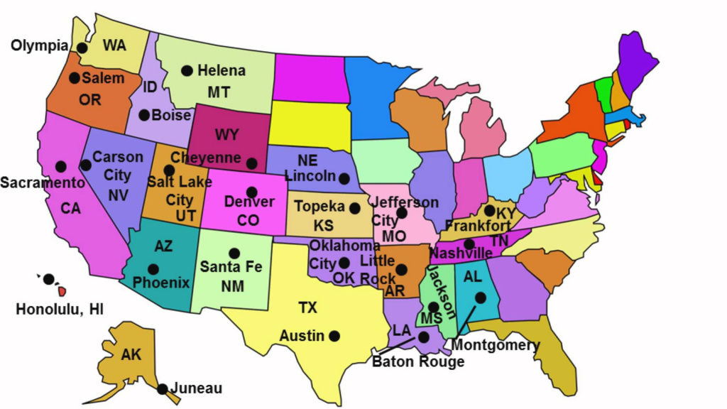 State Capitals Song - Youtube throughout Map Of Usa Showing All States