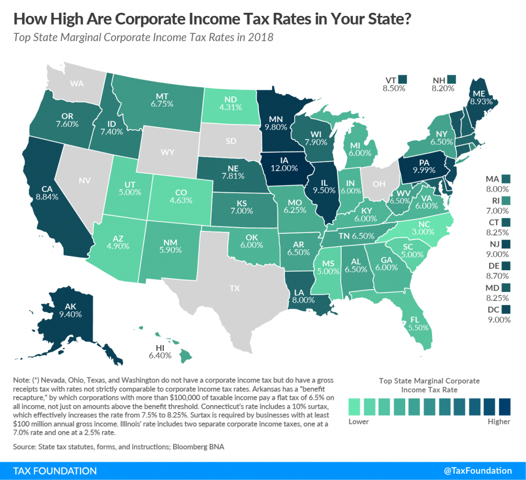 State Corporate Income Tax Rates And Brackets For 2018 - American intended for State Income Tax Map