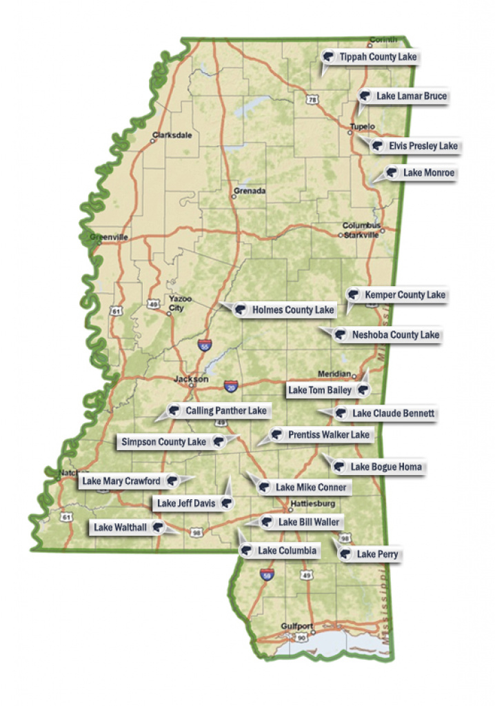 State Fishing Lakes regarding Mississippi State Parks Map