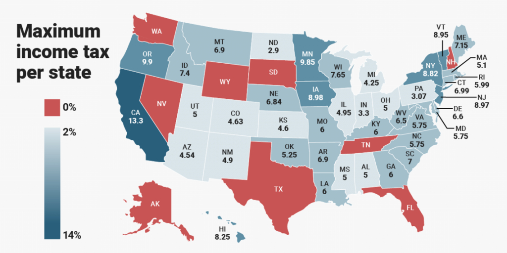 State Income Tax Rate Rankingsstate - Business Insider with State Income Tax Map