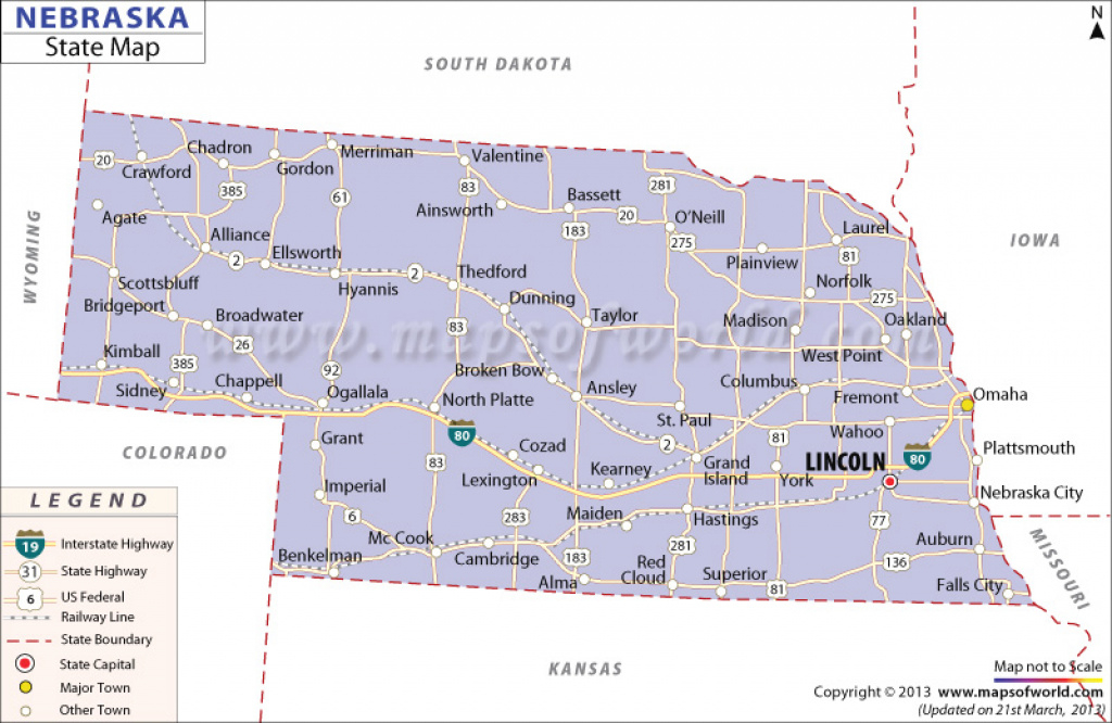 State Map Of Nebraska pertaining to Map Of Nebraska And Surrounding States
