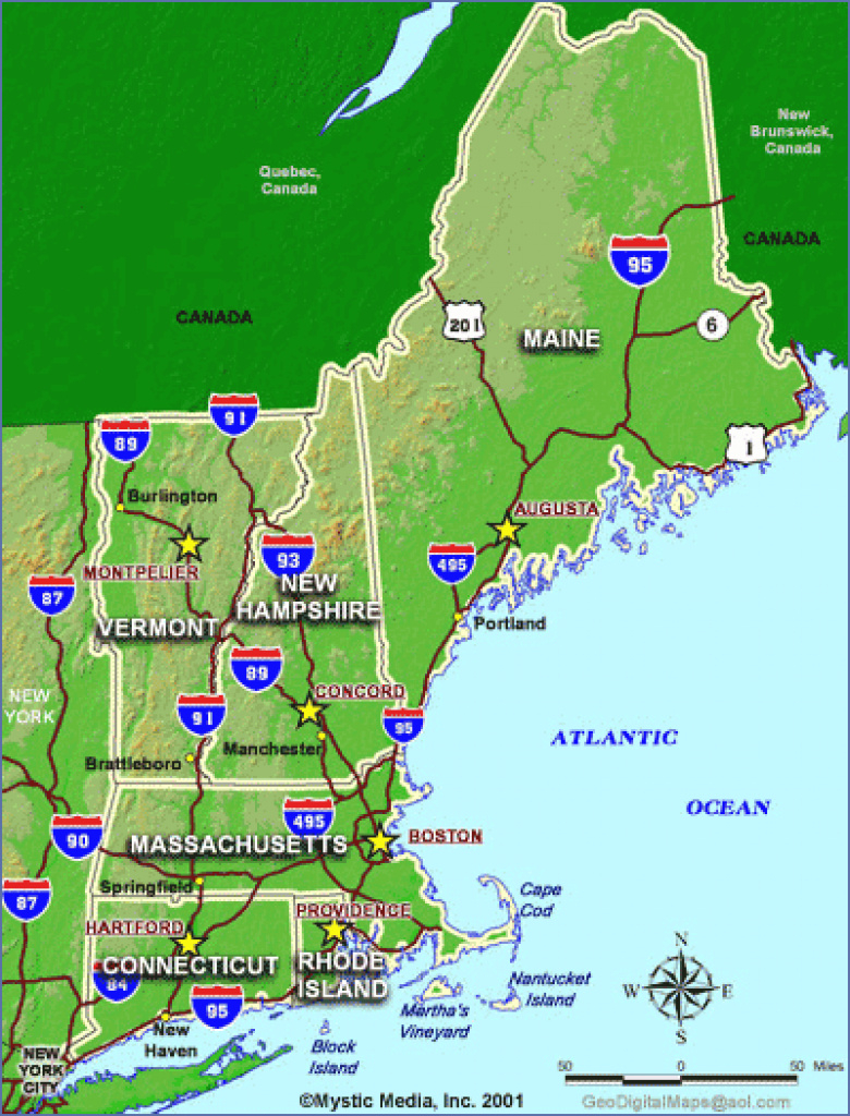 State Maps Of New England - Maps For Ma, Nh, Vt, Me Ct, Ri for Map Of Rhode Island And Surrounding States