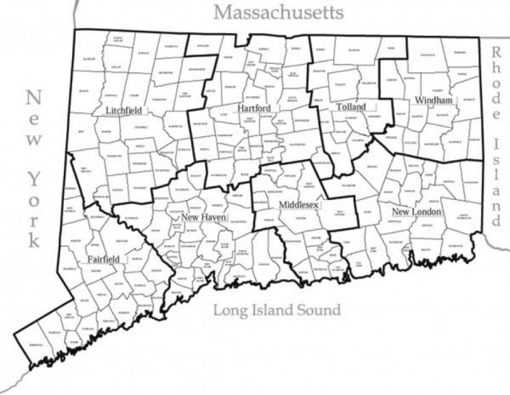 Connecticut State Map With Counties And Cities