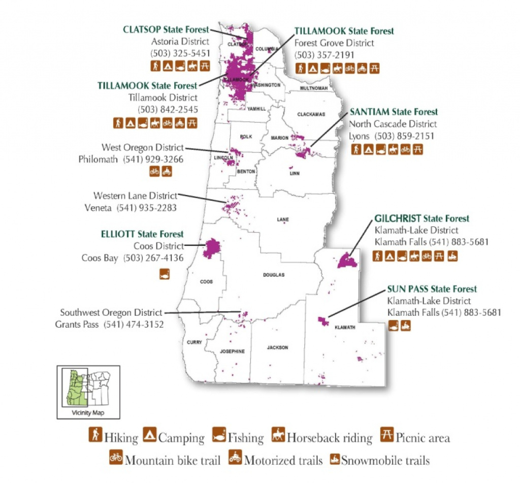 State Of Oregon: Recreation - Recreation for Tillamook State Forest Camping Map