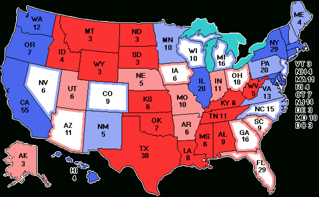 State Of The Race : Election Watch - Usa 2016 with regard to Map Of States And Electoral Votes
